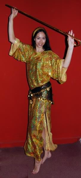 Gold sequined saaidi dress, made as atroupe costume for my students in 2011